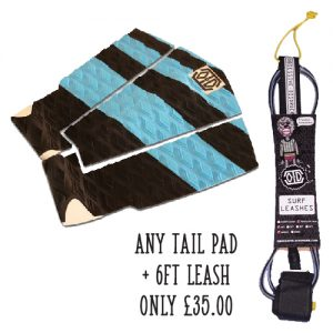 surf leash and tail pad